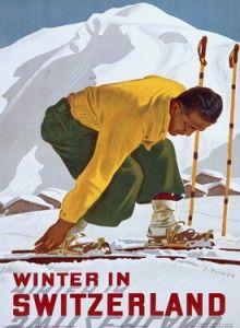 """""""winter in switzerland"""" vintage travel poster.....reépinglé par Maurie Daboux ❥•*`*•❥"""