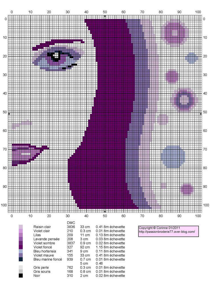 0 point de croix femme portrait - cross stitch girl close-up