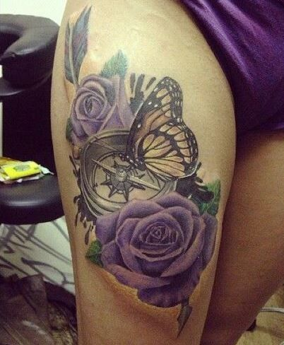great 3d detailed and colored compass with flowers and butterfly tattoo on thigh tattoo. Black Bedroom Furniture Sets. Home Design Ideas