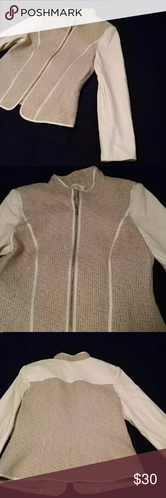 Gorgeous tweed/pleather jacket size 8 Front zipper, pleather sleeves and back yoke. Fully lined, no pockets. Calvin Klein Jackets & Coats