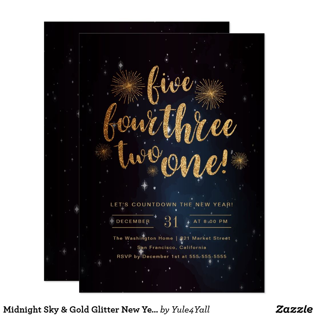 midnight sky gold glitter new year celebration card