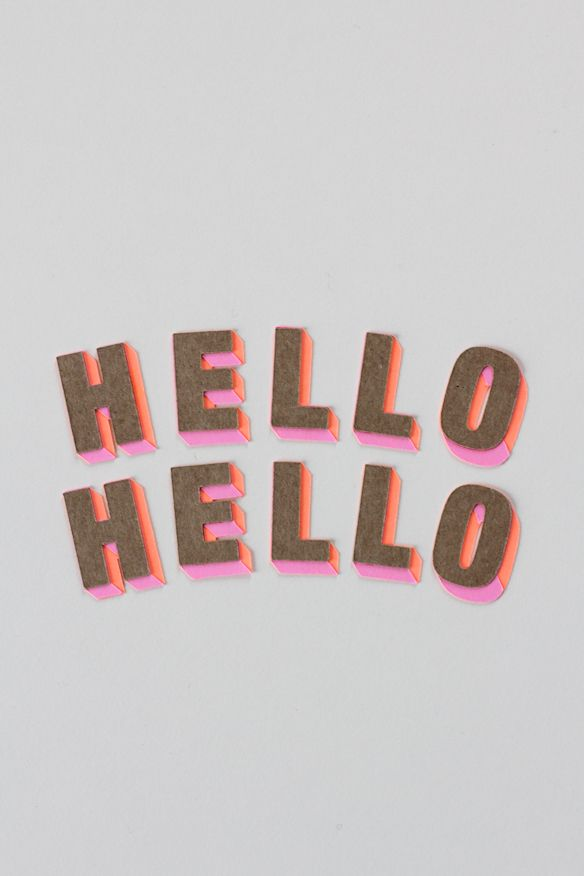 3D papercut looking hello