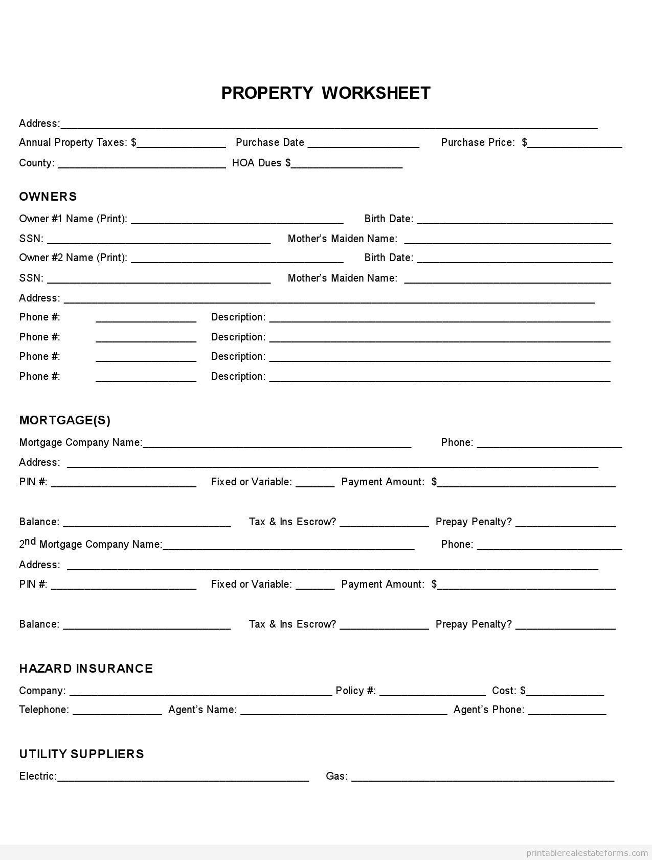 Sample Printable property fact sheet Form Printable Real