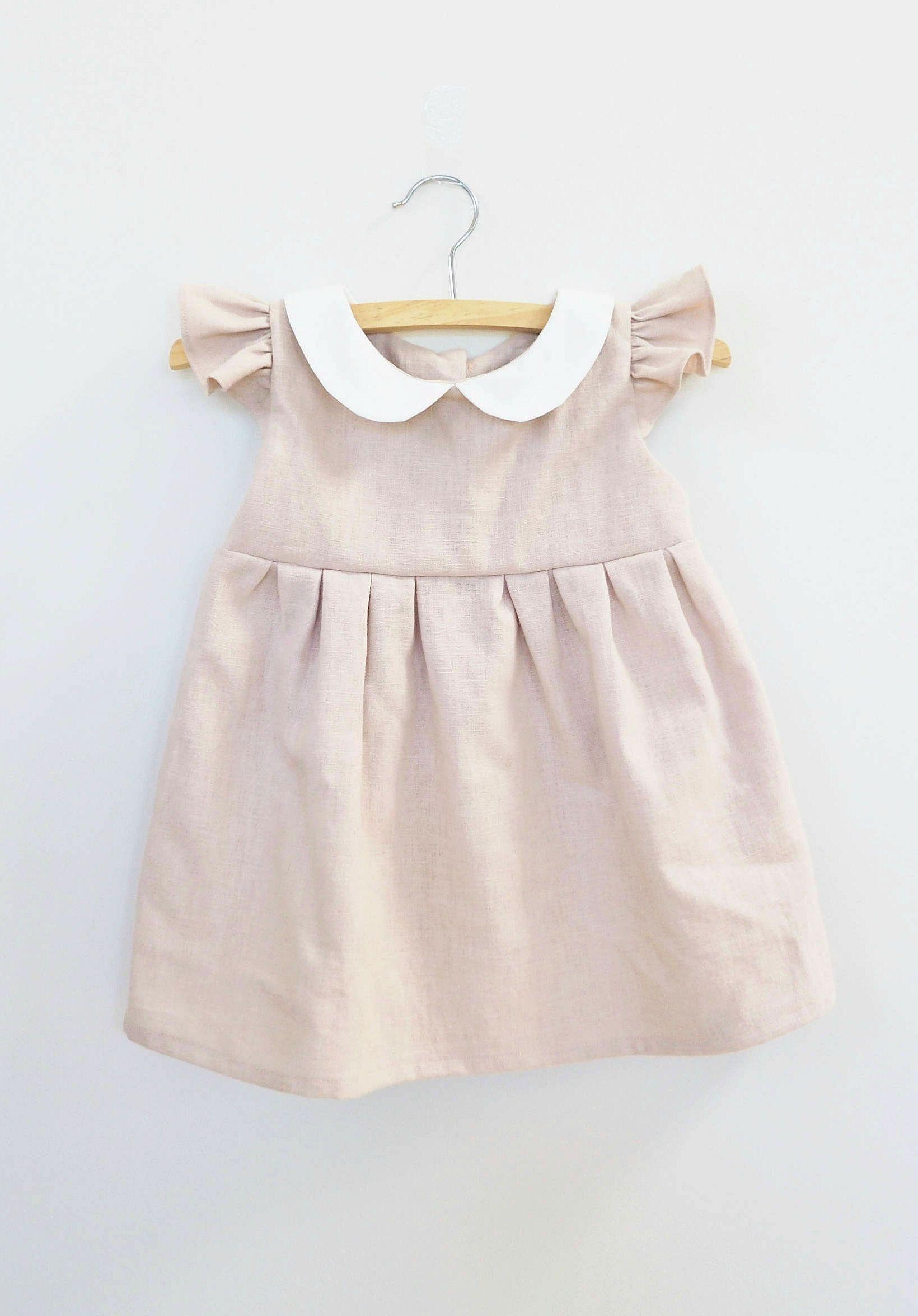Handmade Linen Dress With Peter Pan Collar