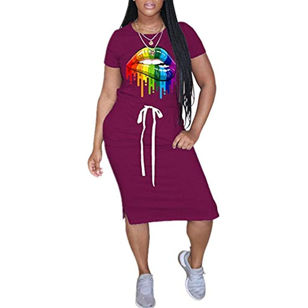 Sexy Womens Dress Shirts Plus Size Casual Summer Lips Long Maxi Dresses with Poc