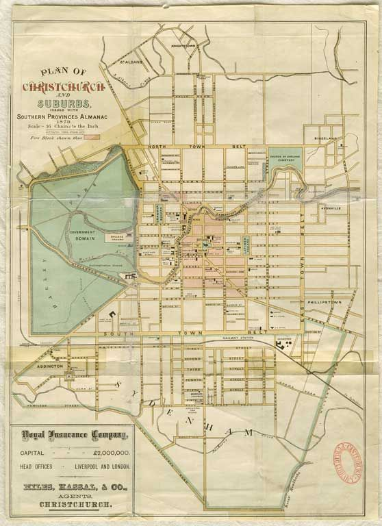Plan of Christchurch and suburbs 1879 Mapped Pinterest