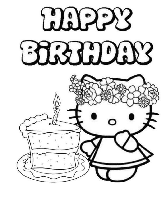 Hello Kitty Birthday Cake Coloring Pages (With images ...