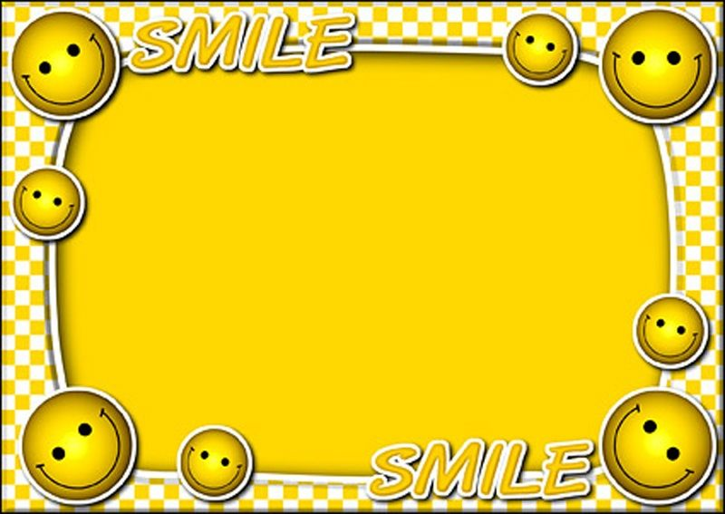 Yellow Frames With Smiley Cartoon Frames Design, Img