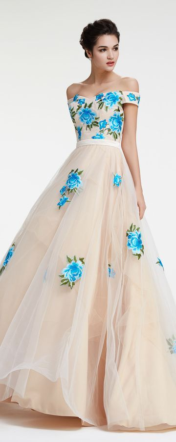 Off the Shoulder Ball Gown Prom Dress with Embroidery | Pinterest ...