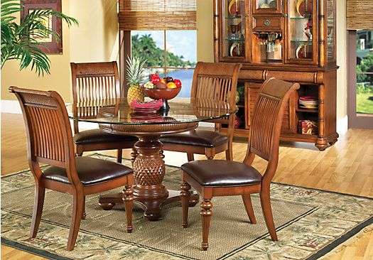 shop for a cindy crawford home key west dark pedestal 5 pc dining