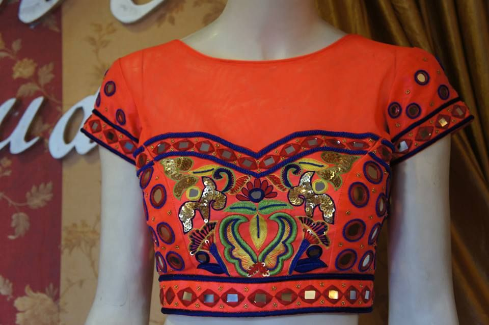 mirror work embroidery saree blouse   BacklessBlouse.com