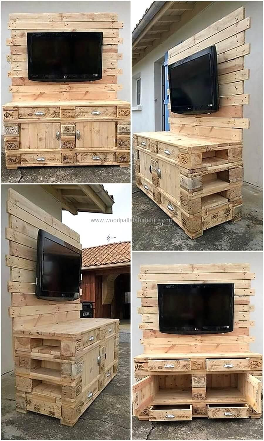 Wooden Pallets Made Tv Console Wood Pallet Furniture Wood Pallet Furniture Wooden Pallets Wooden Pallet Projects