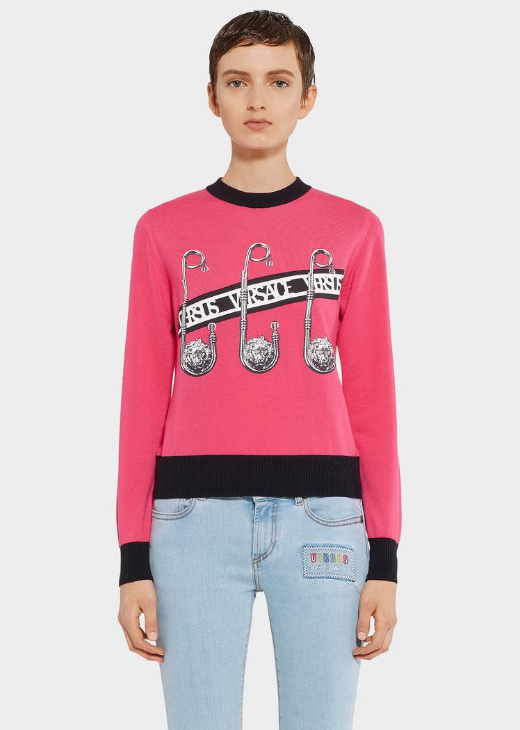 Safety Pin Sweater Fuchsia Pink Knitwear