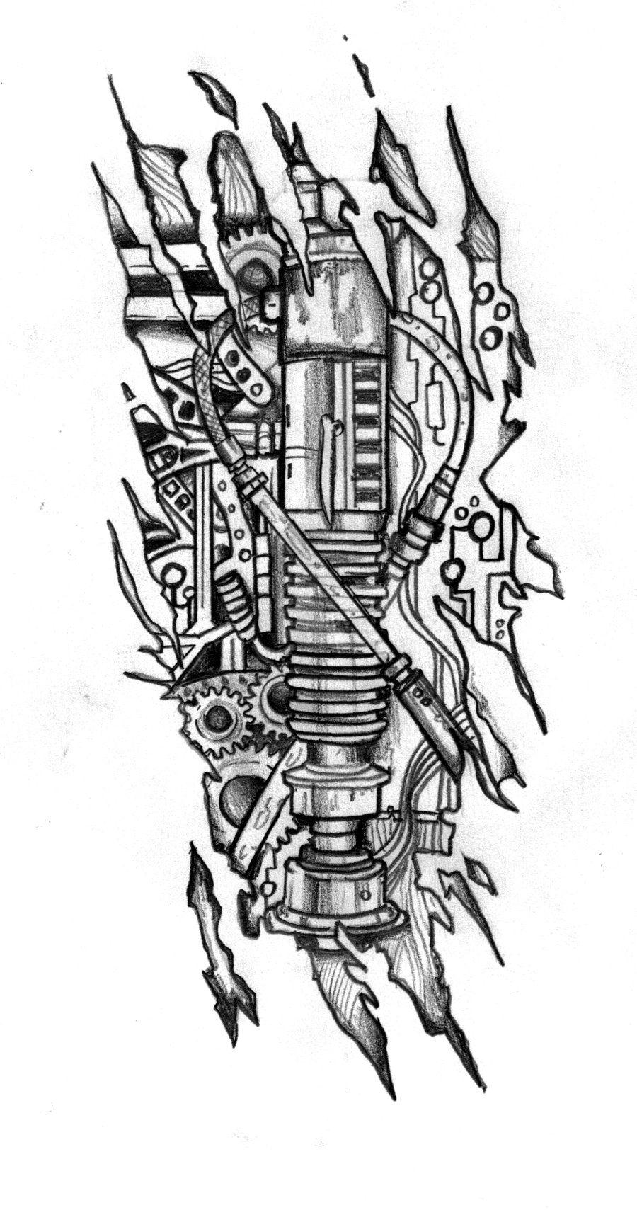 Biomechanic Lightsaber Tattoo Design by CustomArtwerk