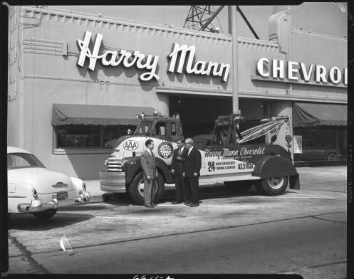 Harvey Mann Chevrolet Los Angeles 1952 Automobile Club Of Southern California Collection 1892 1963 Chevrolet Dealership Trucks Tow Truck