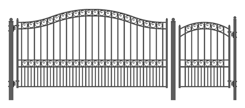 Set Of Aleko Paris Style Steel Swing Single Driveway 12 Ft With Pedestrian Gate 4 Ft In 2020 Iron Gate Design Wrought Iron Gate Designs Iron Gate