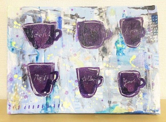何事かを企む「秘密会議」。整列したカップは、机をとり囲む6人を連想して描きました。一体何が話し合われているのか…と想像してしまいます。_____...|ハンドメイド、手作り、手仕事品の通販・販売・購入ならCreema。