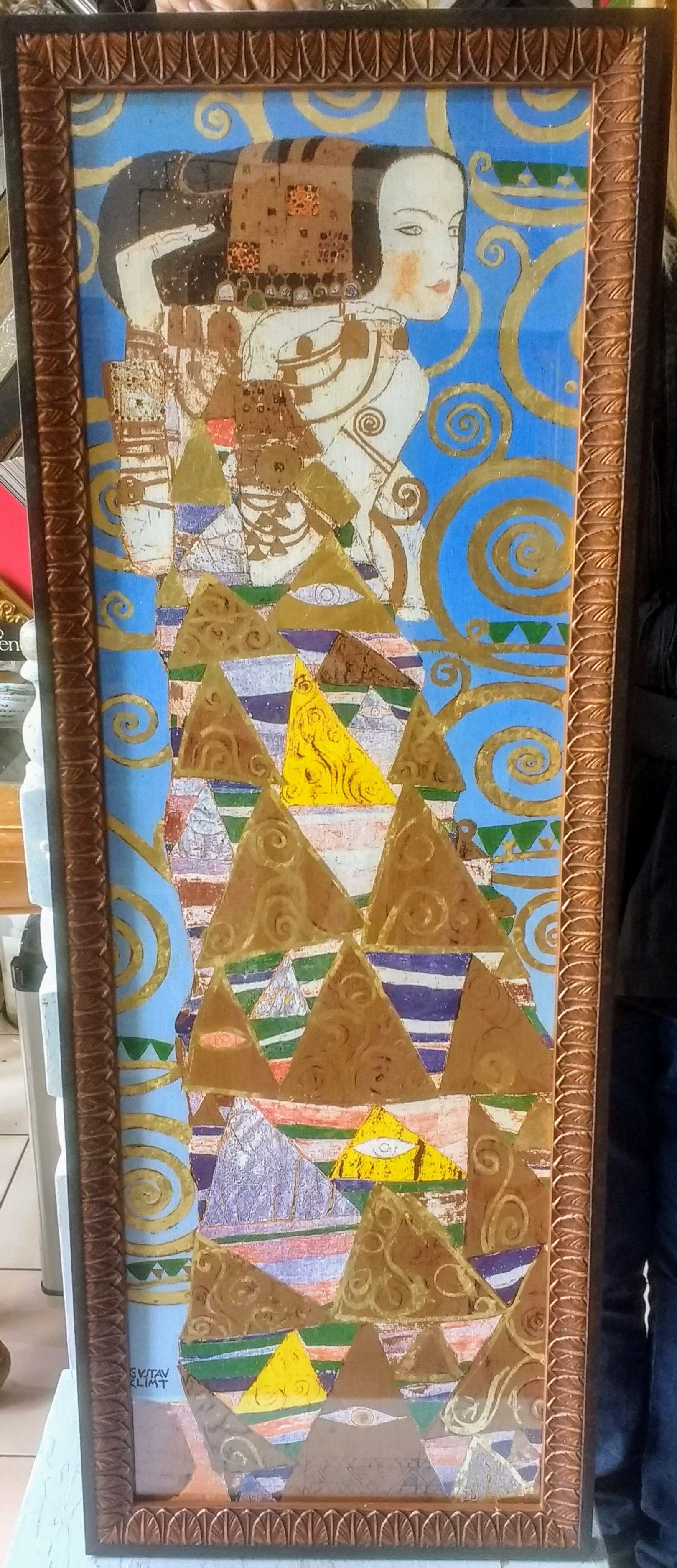Litografía enmarcarda. Gustav Klimt, detalle del árbol de la vida ...