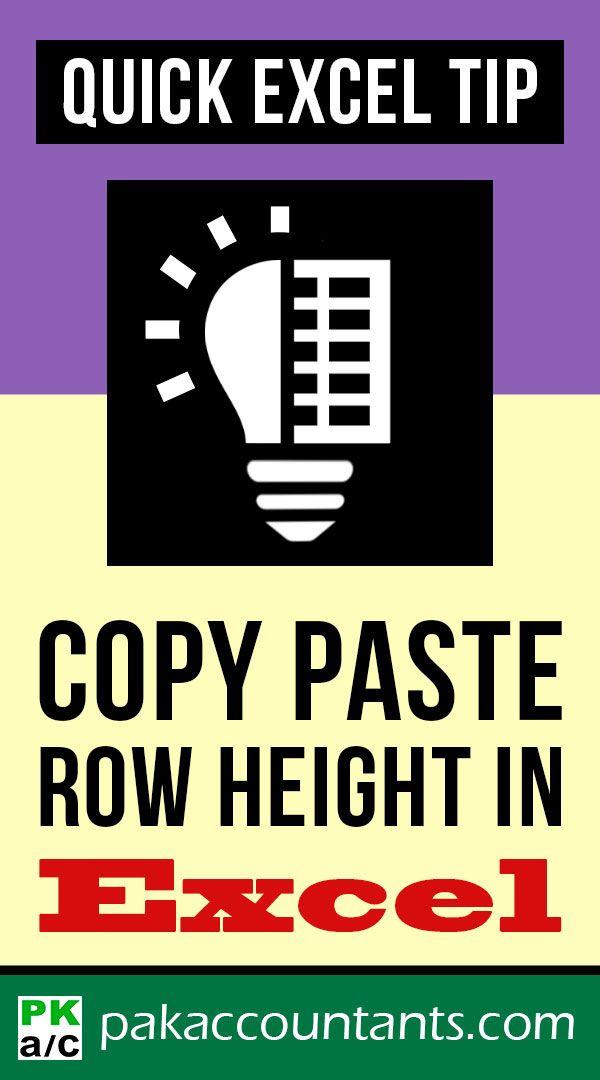 copy paste row height in excel  quick tip