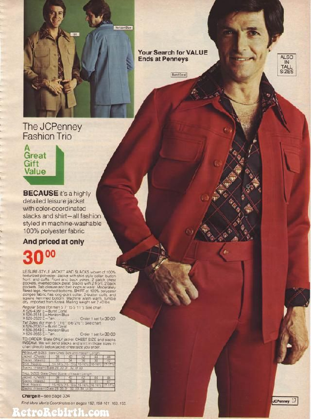 """Vintage Ads from the 1976 JC Penny Catalog """"Highly decorated leisure jacket with color-coordinated slacks and shirt, priced at only $30.00!"""""""
