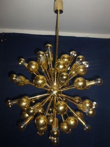 Original Lampe Deckenlampe Sputnik Messing 60 70 Jahre Gold Orbit