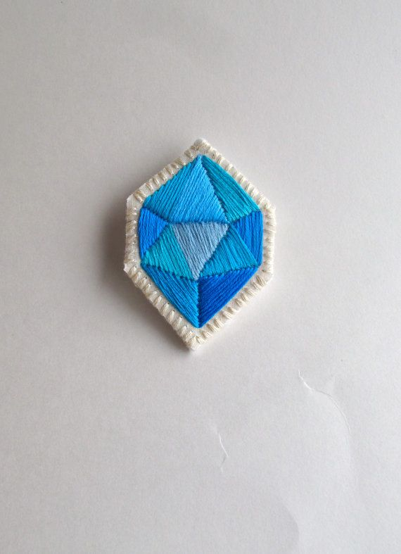 Geometric embroidered brooch hand made blue by AnAstridEndeavor,