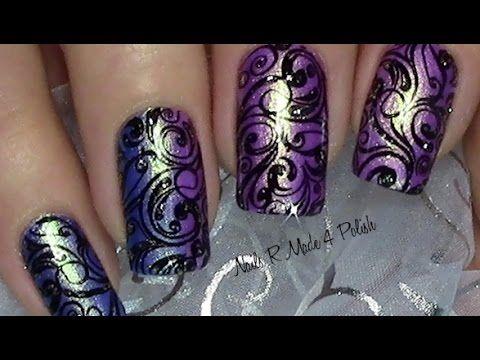 schn rkel stamping nageldesign mit glitter n gel lackieren nail art design tutorial. Black Bedroom Furniture Sets. Home Design Ideas
