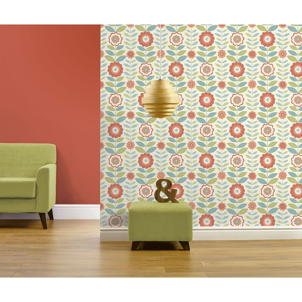 Wall stickers wilko - Flower Power Coral And Teal Wallpaper At Wilko Com