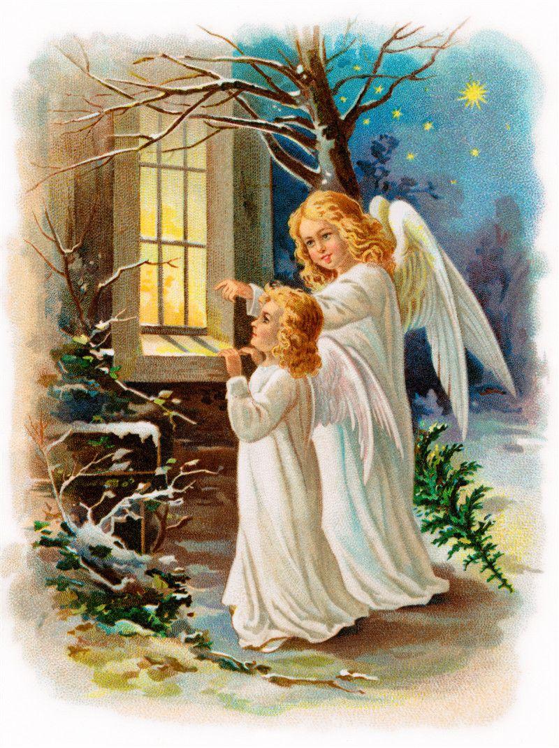 Ангел на открытке с рождеством