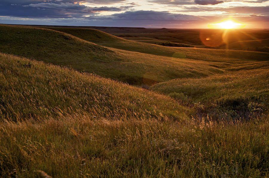 Sunset Over The Kansas Prairie by Jim Richardson Flint