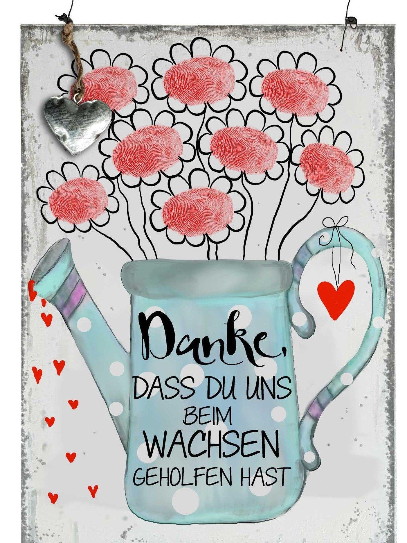 Abschiedsgeschenk Lehrerin Geschenk Erzieherin Holzschild mit Spruch Vintage Holzbild A4 Abschied Kindergarten Danke daß du uns beim wachsen