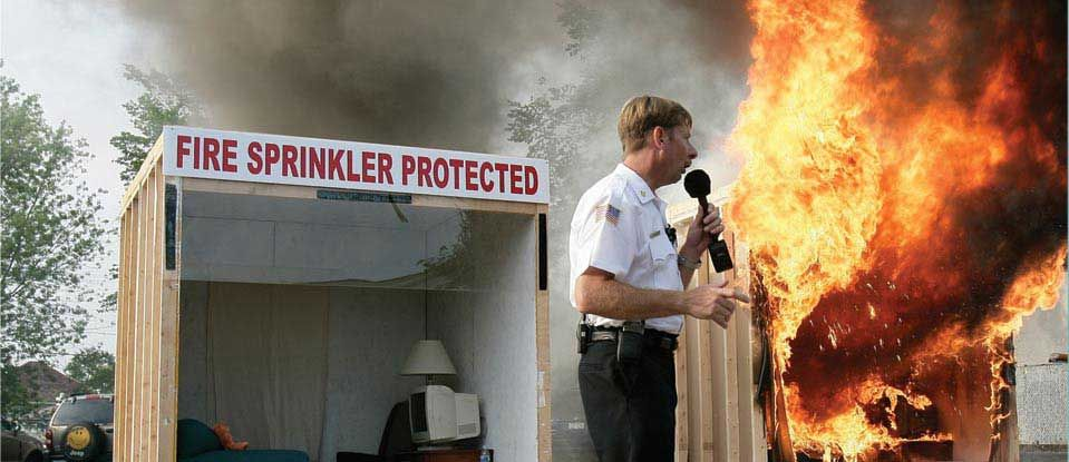 Local fire service education showing a typical home fire