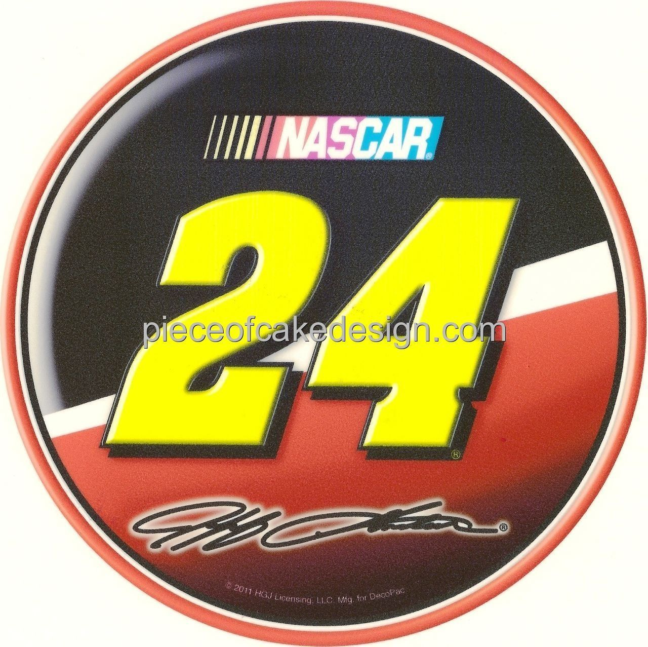 8 Round ~ Jeff Gordon number24 NASCAR Logo ~ Edible Image Cake ...