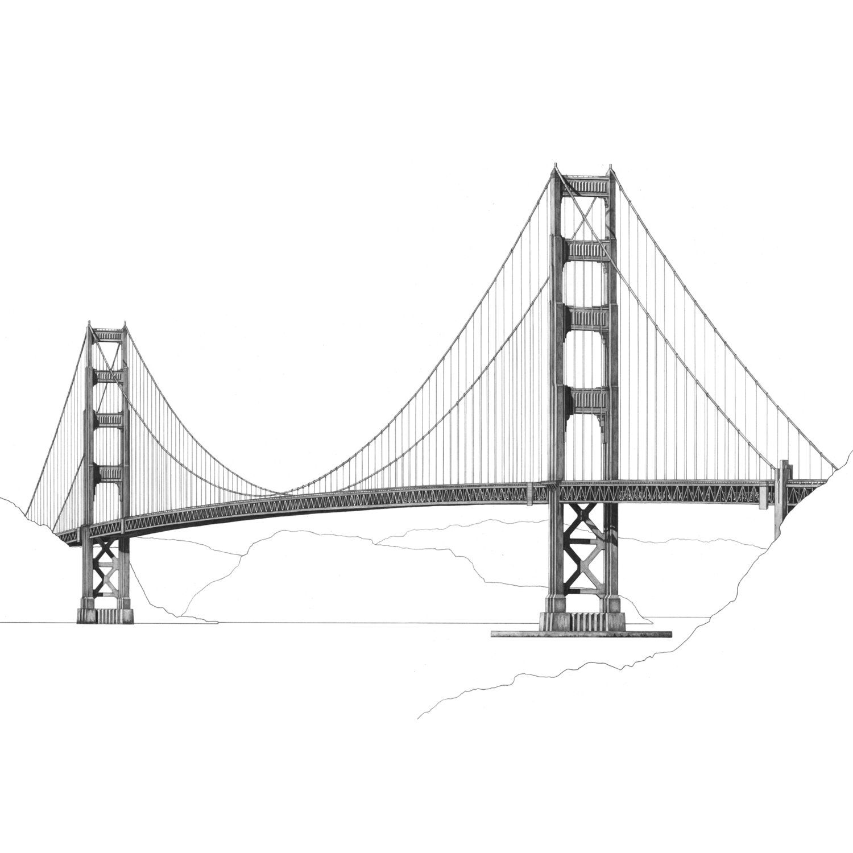Golden Gate Bridge Architectural Print San Francisco Golden Gate Bridge Golden Gate Bridge Drawing Bridge Drawing