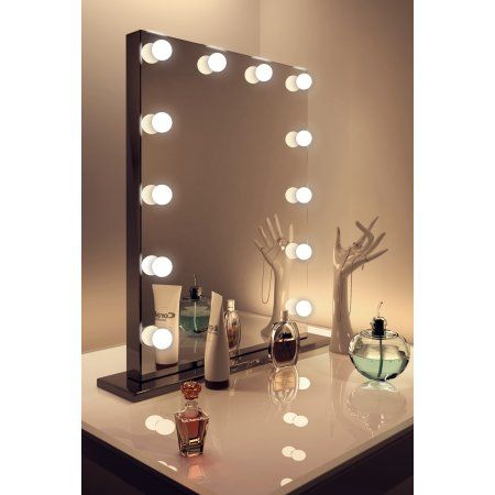 Vanity Mirror With Lights Walmart Magnificent Free Shippingbuy Diamond X Gloss Black Hollywood Makeup Mirror Decorating Inspiration