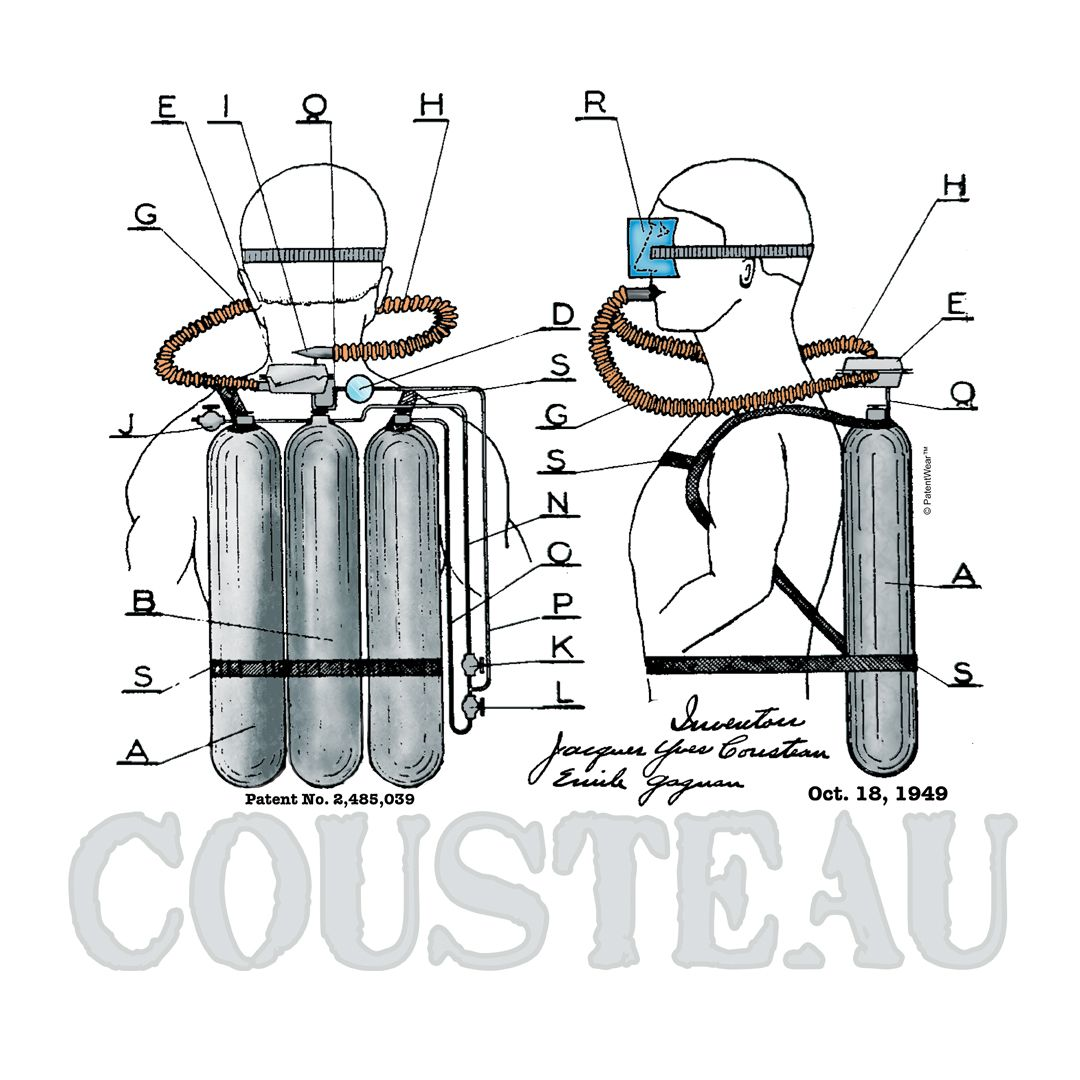 cousteau aqualun u2014 original patent art design by patentwear