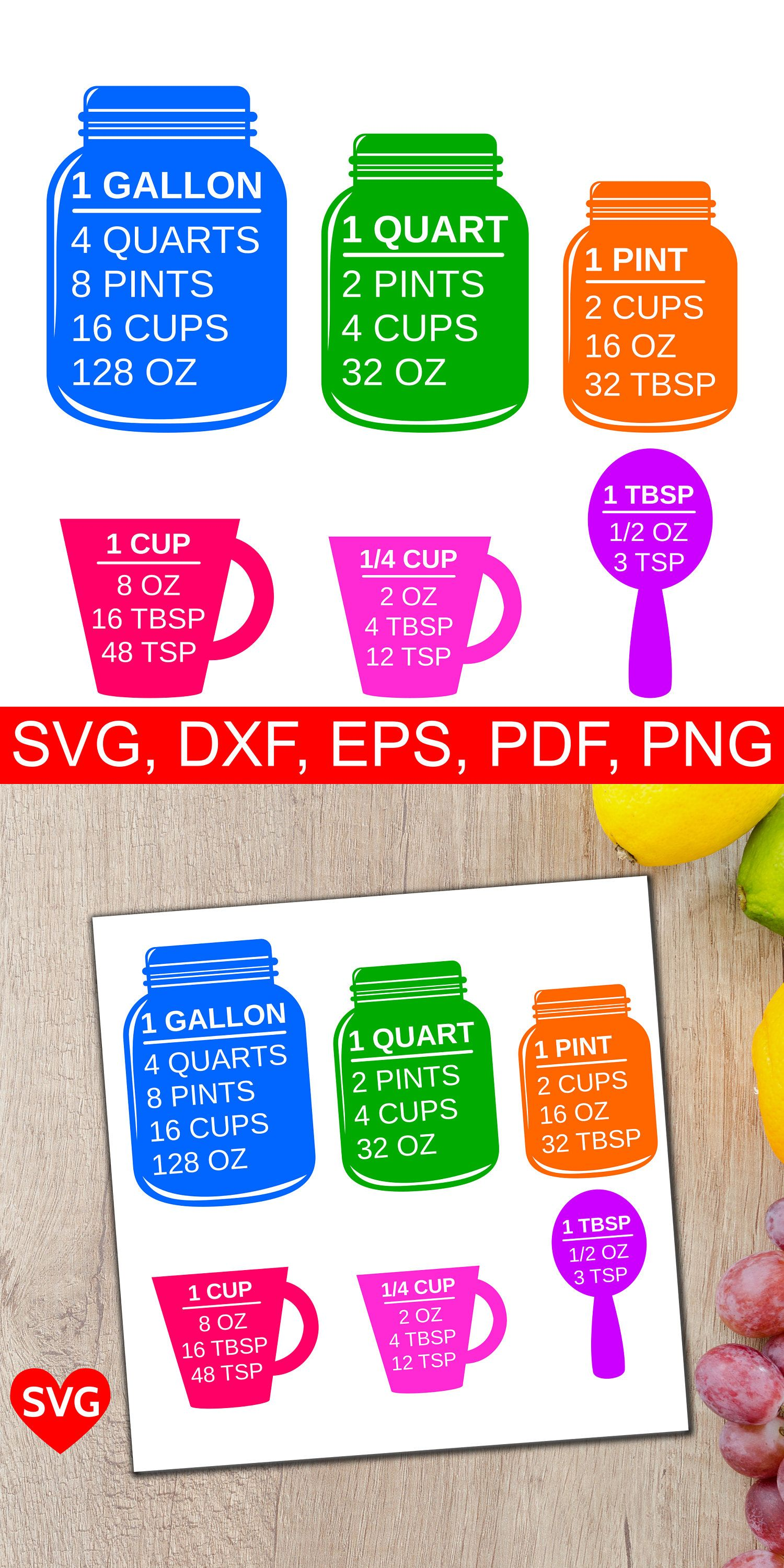 Colorful Measuring Cups SVG Files for Cricut and