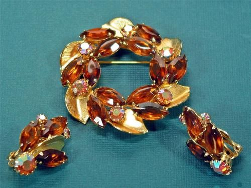 Vtg WEISS Fall Colors Demi Brooch & Clip Earrings Marquise Topaz Round AB Topaz
