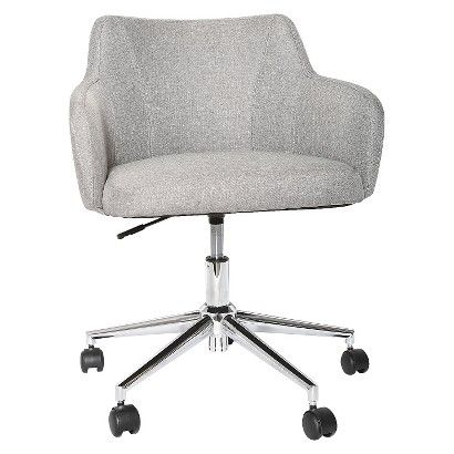 Room Essentials Office Chair Upholstered Grey Linen Comfortable