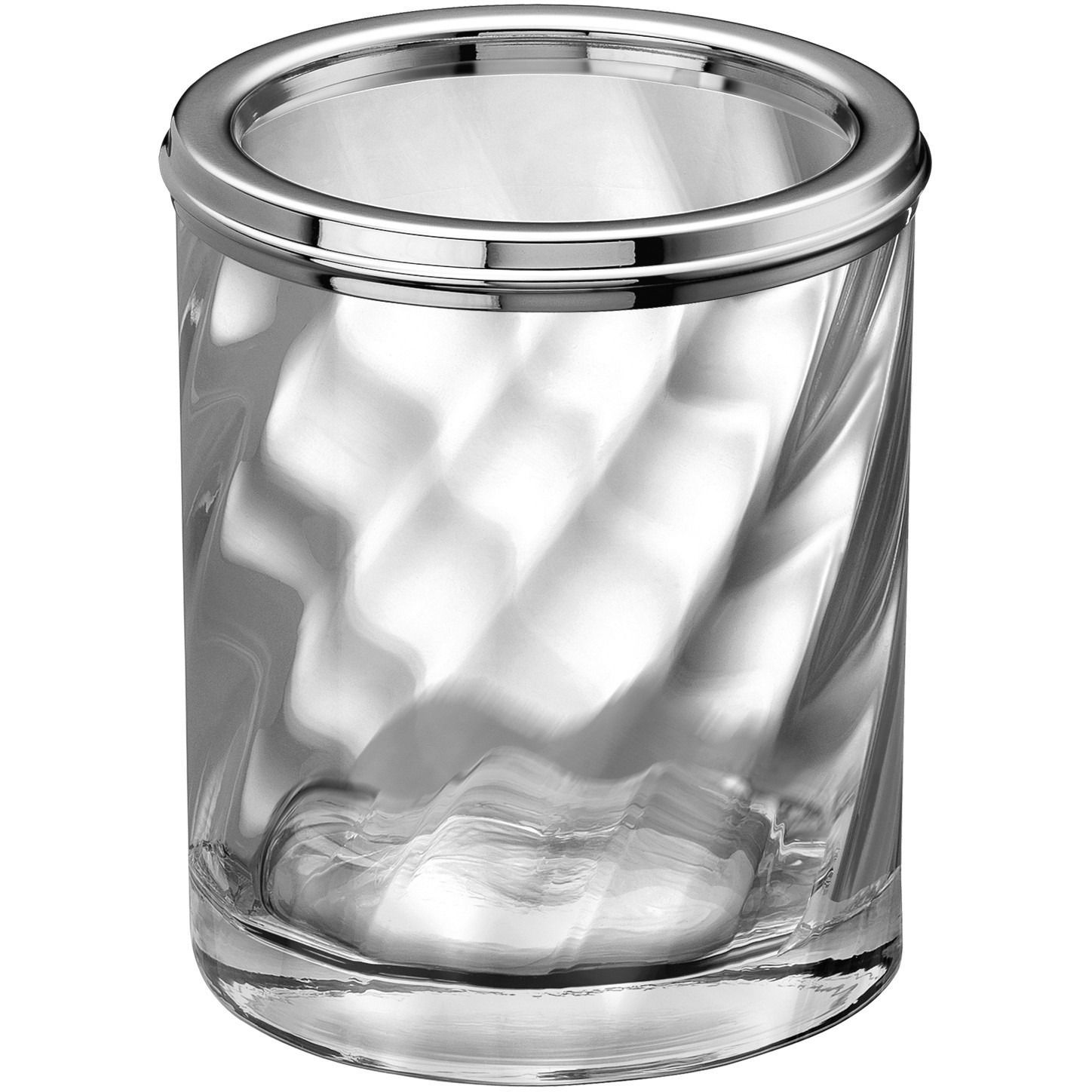 Spiral Clear Glass Round Table Toothbrush Toothpaste Holder Bathroom Tumbler