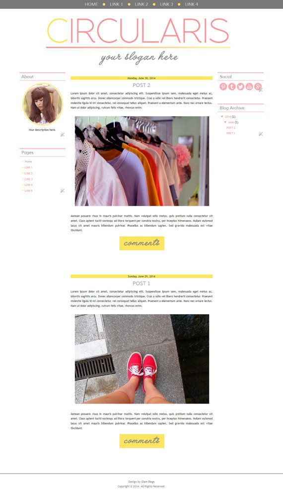 CIRCULARIS blog design blogger template pink theme by glamblogs