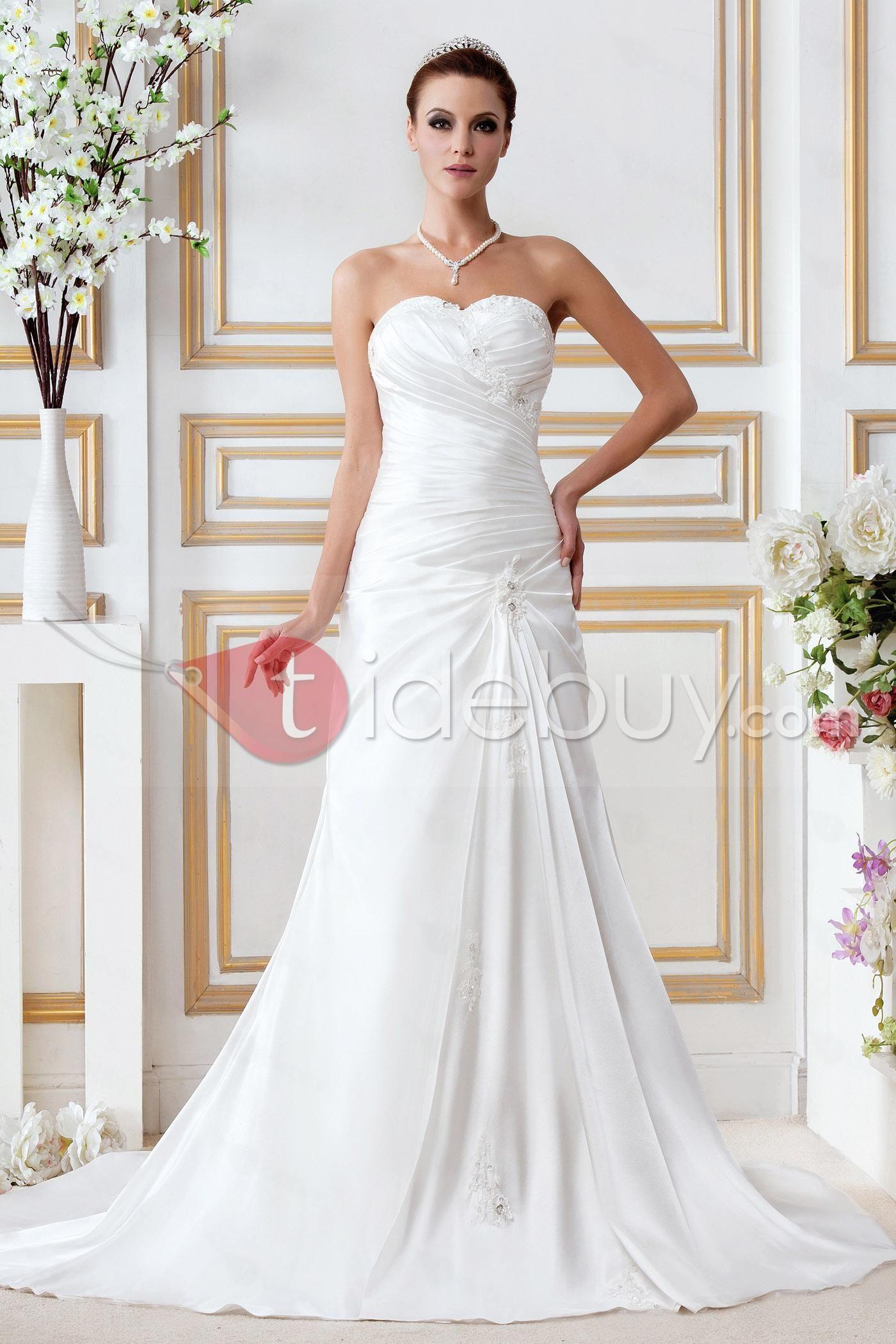 Wedding dresses beach  Pretty Empire Sweetheart Chapel Appliques Gerogiaus Bridal Gown