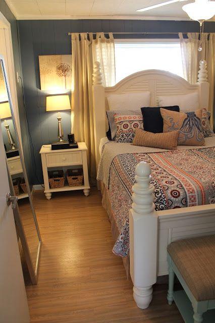 inspiring master bedroom paint color schemes | Valspar Retro Colonial Blue Master Bedroom Refresh | Blue ...