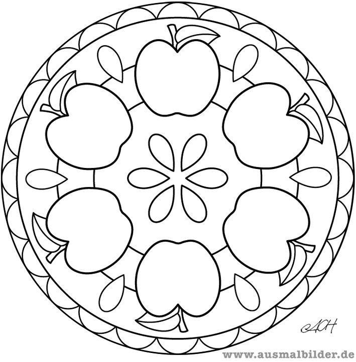Apfel Mandala Jpg Apfel Mandala Coloriage Pomme Mandala Automne Coloriage Automne