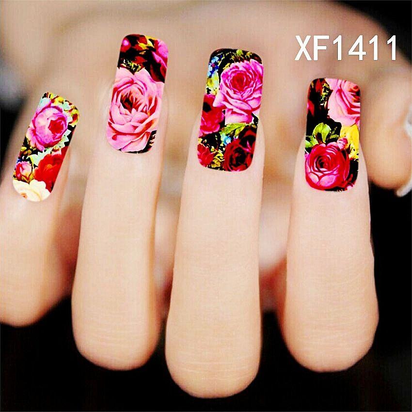 Us 0 07 1pcs chic flower nail art water decals transfer stickers splendid water decals sticker xf1411