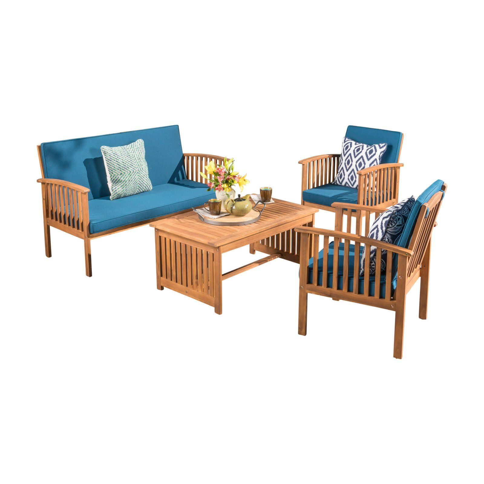 Astonishing Outdoor Best Selling Home Carolina Acacia Wood 4 Piece Patio Caraccident5 Cool Chair Designs And Ideas Caraccident5Info