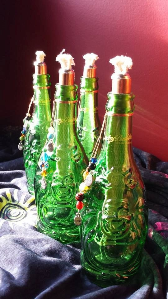 Lucky buddha beer bottle tiki torch by julisfarm on etsy for Diy beer bottle tiki torches