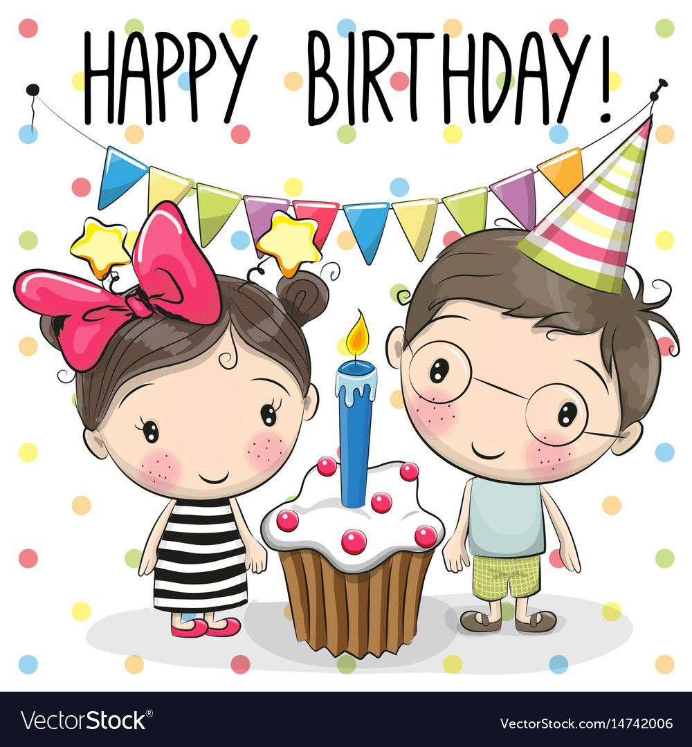 Greeting Card Boy And Girl Vector Image On Con Imagenes