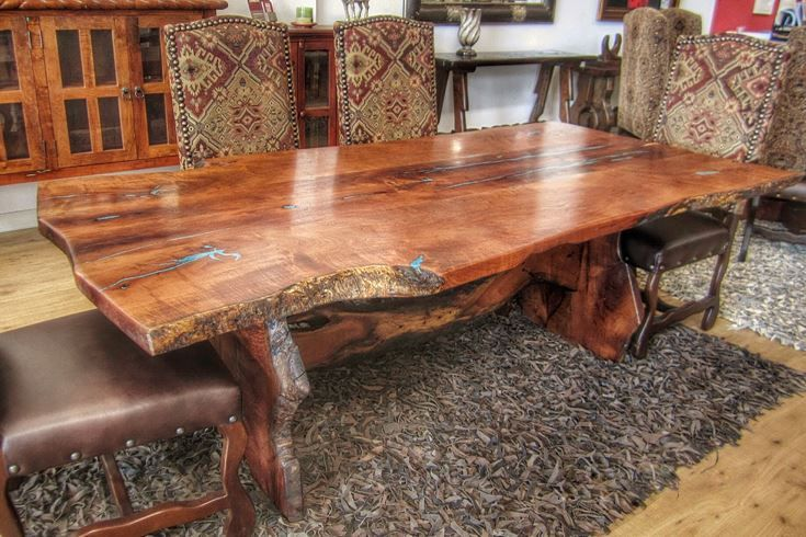 Freeform Mesquite Dining Table With Turquoise Inlay Dining Table