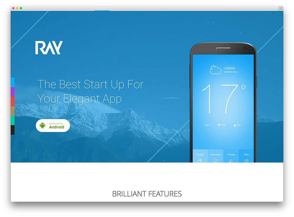 Ray - App Landing Page | User interface design